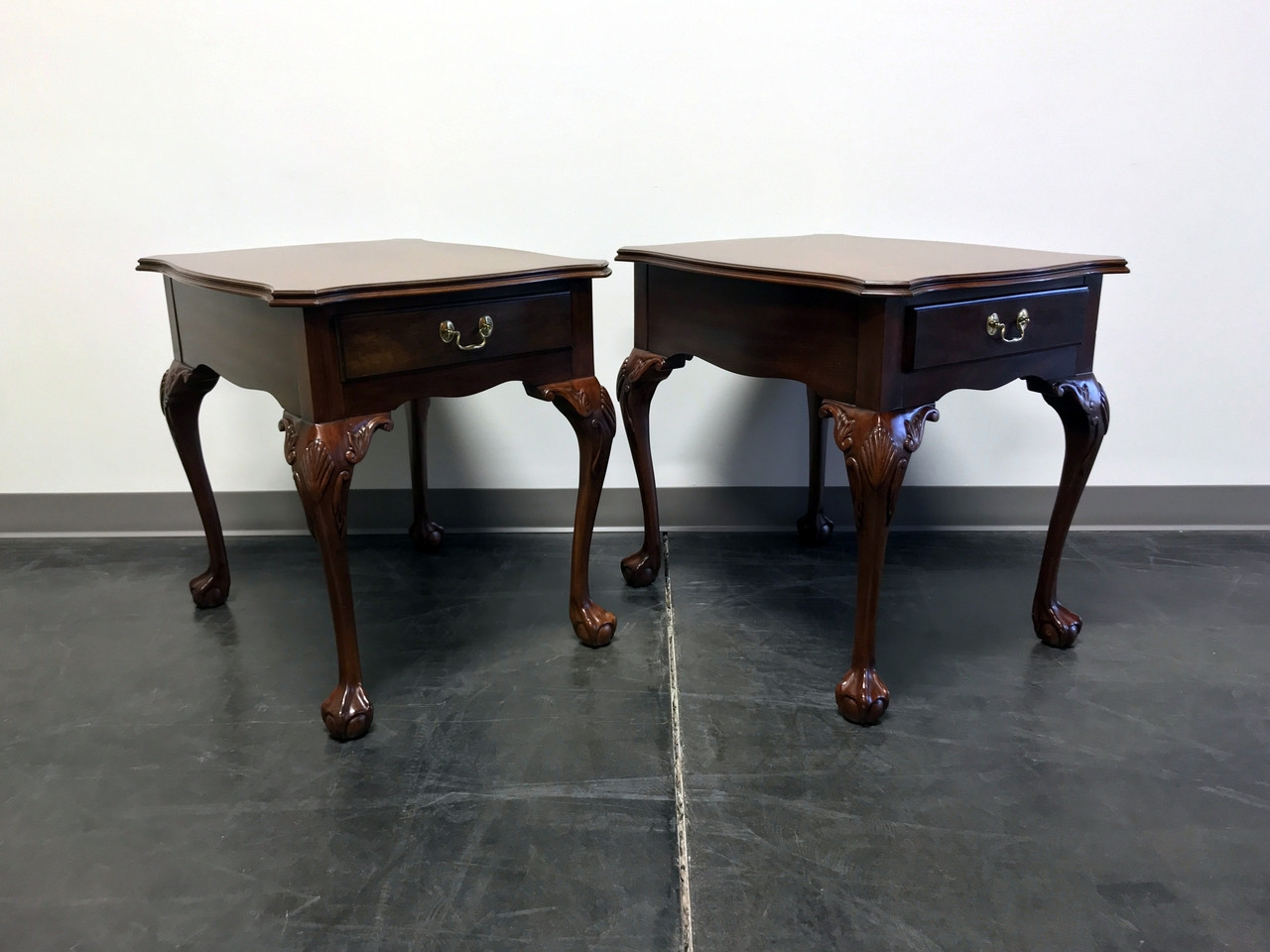 HENKEL HARRIS Solid Mahogany Chippendale Ball in Claw End Tables