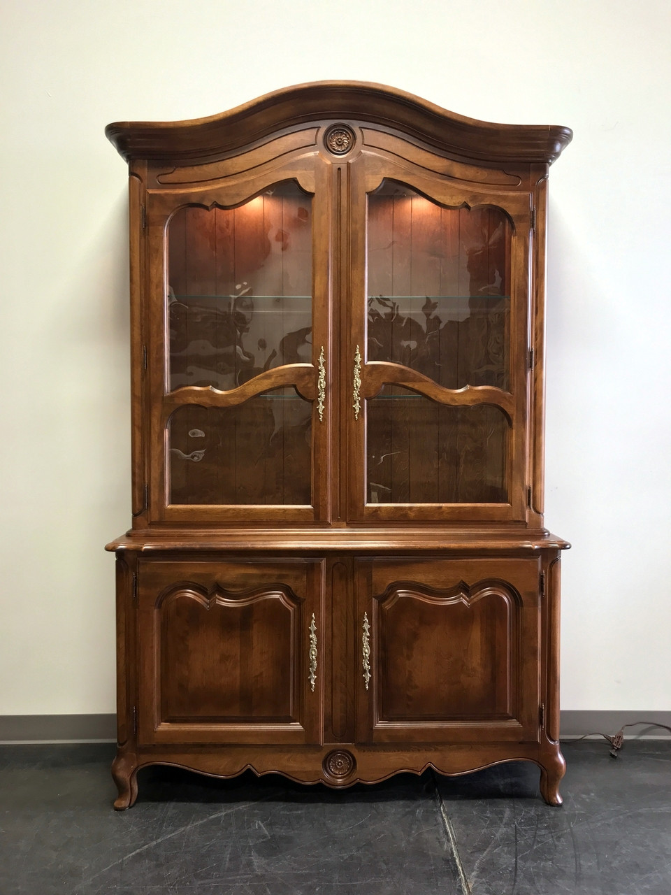 SOLD OUT   ETHAN ALLEN French Country Louis XV Style Fruitwood China Cabinet