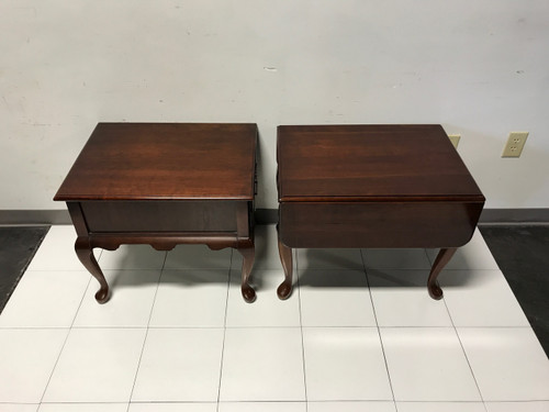 SOLD OUT Solid Cherry Queen Anne Style Side End Tables by JF