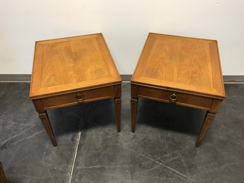 BAKER FURNITURE Mid Century Neo Classical End Side Tables Pair