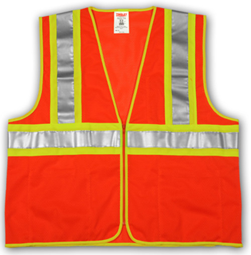 "SP V70649 L/XL MESH Orange Polyester Safety Vest,  Two-Tone 2"" Silver Reflective Tape with Contrasting Backing,  Single Horizontal Stripe,  Zipper Closure, 4 Interior Pockets, ANSI Class II"