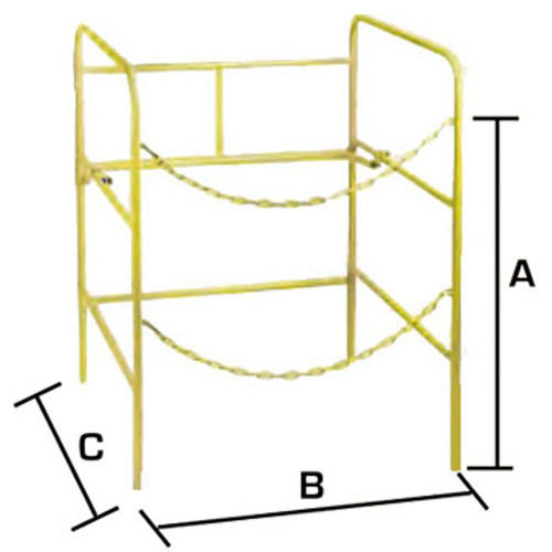 The Condux 0804330 Steel Manhole Guard Rail comes furnished with two steel chains and wing bow locking brace to assure sturdy protection.