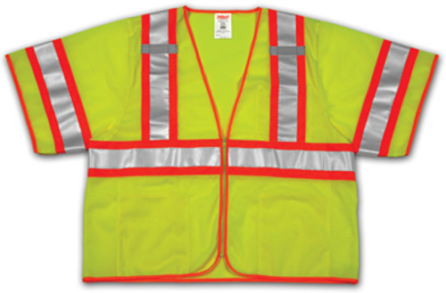 SP V70332 Small-Medium Lime Mesh Polyester Safety Vest, 4 Pockets, ANSI Class III