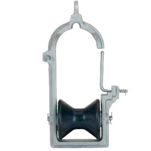 The Condux 18403060 Overlash Cable Block with one rubber roller. Frames are made from durable cast aluminum with steel inserts on strand contact surfaces.