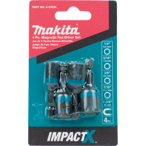 Makita A-97639 ImpactX 4 Piece 1-3/4 Inch Magnetic Nut Driver Set