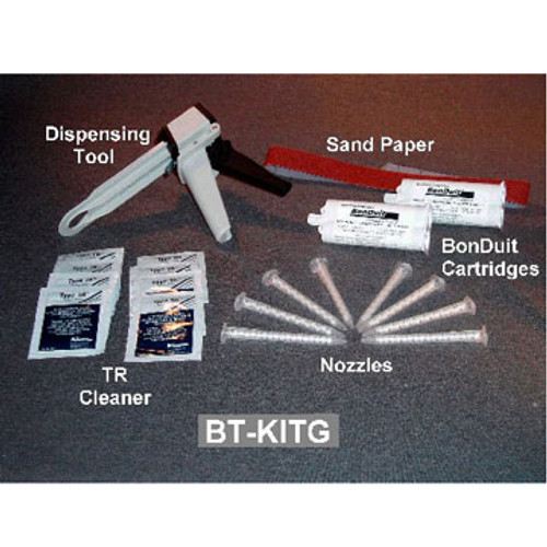 PW BT-KITG Conduit Adhesive Kit w/Tool for Dispensing.  Kit Contains:  2 Adhesive Cartridges, 8 Mixing Nozzles, 1 Strip of Sanding Cloth, 8 TR-1 Cleaning Wipes and 1 dispensing Tool