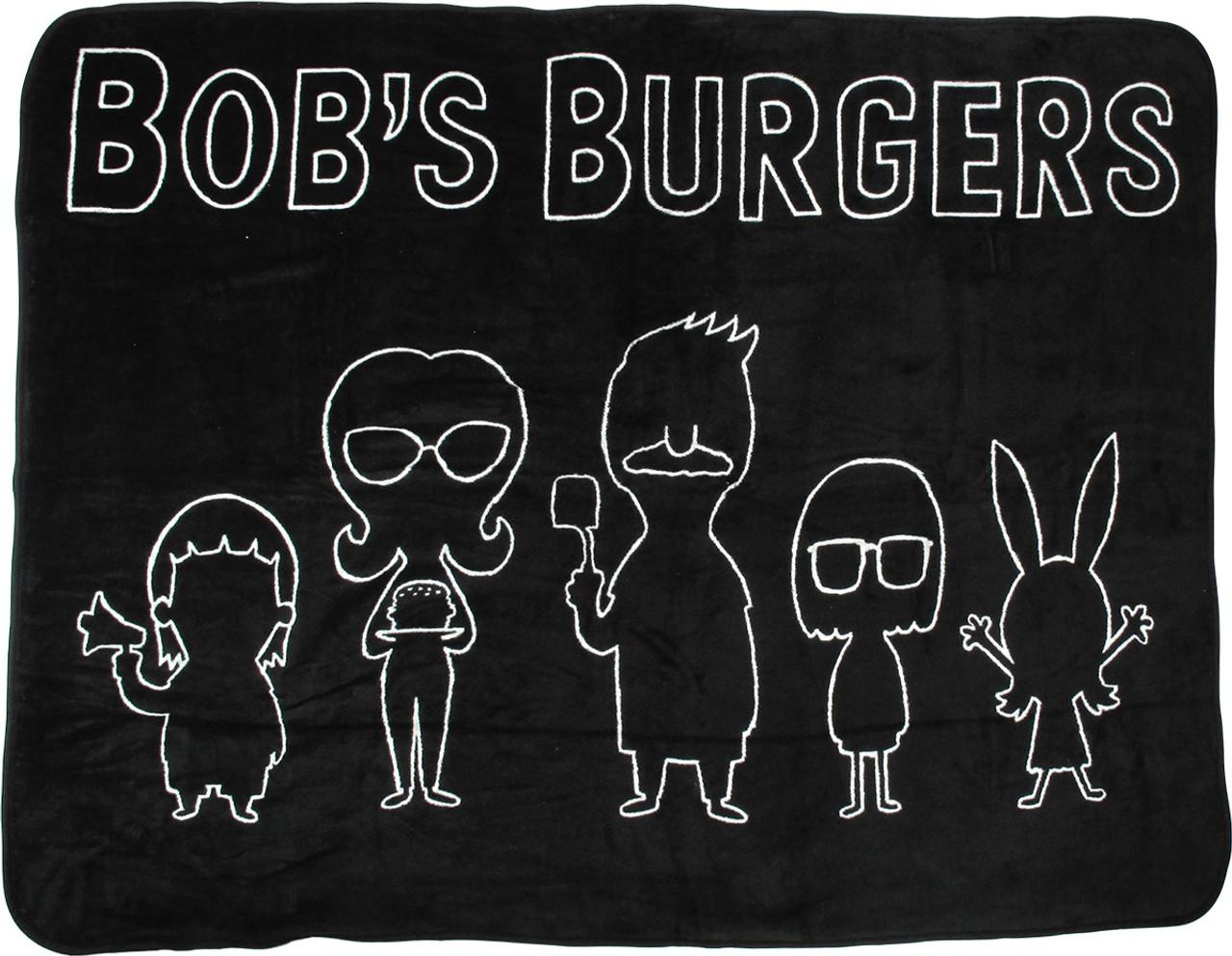 bob s burgers group line silhouette fleece blanket