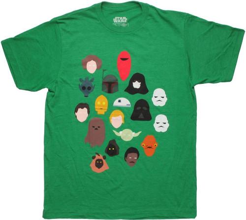Star Wars Toon Heads Green T Shirt Sheer
