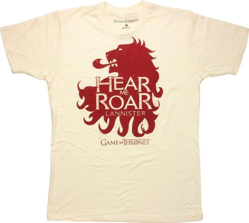 Game of Thrones Hear Me Roar Cream T Shirt Sheer