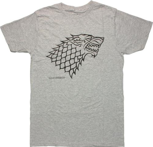 Game of Thrones Stark Direwolf Gray Heather T Shirt Sheer