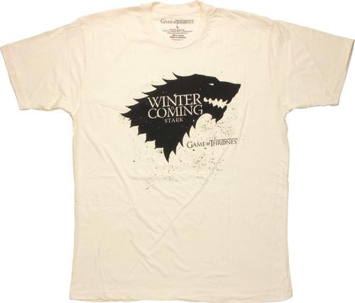 Game of Thrones Stark Winter Stencil Cream T Shirt