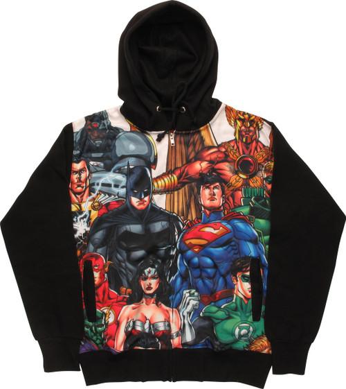 Justice League Heroes Dye Sub Zip Hoodie