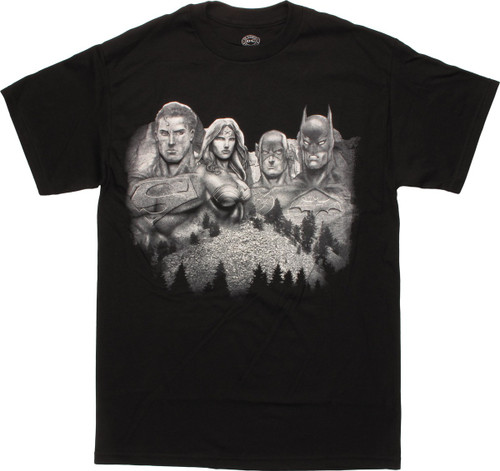 Justice League Heroes Mount Rushmore T-Shirt