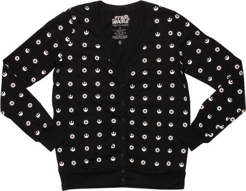 Star Wars All Over Logo Junior Cardigan Sweater