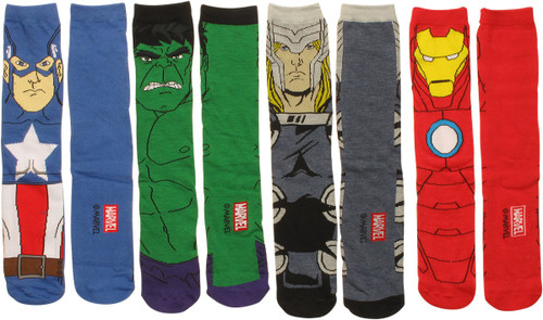 Avengers Characters Crew 4 Pair Socks Set