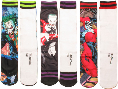 Batman Characters Sublimated Crew 3 Pair Socks Set