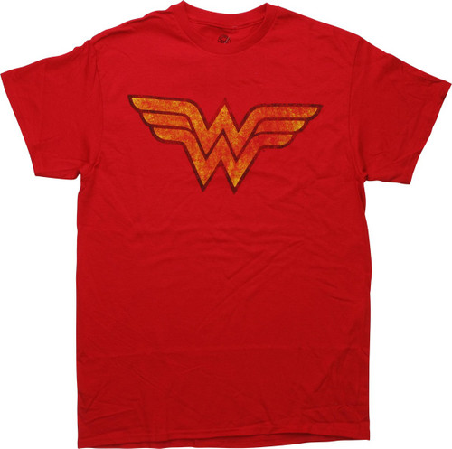 Wonder Woman Logo Distressed Red T-Shirt
