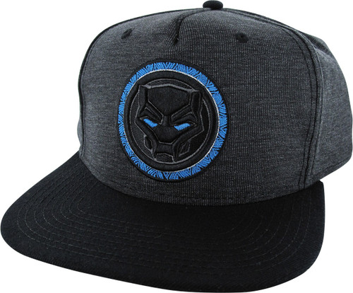 Black Panther Logo Heathered Charcoal Snapback Hat