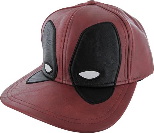 Deadpool Mask Faux Leather Snapback Hat