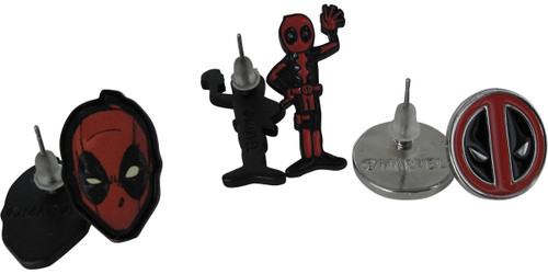 Deadpool Logo Mask Waving 3 Pairs Earrings Set