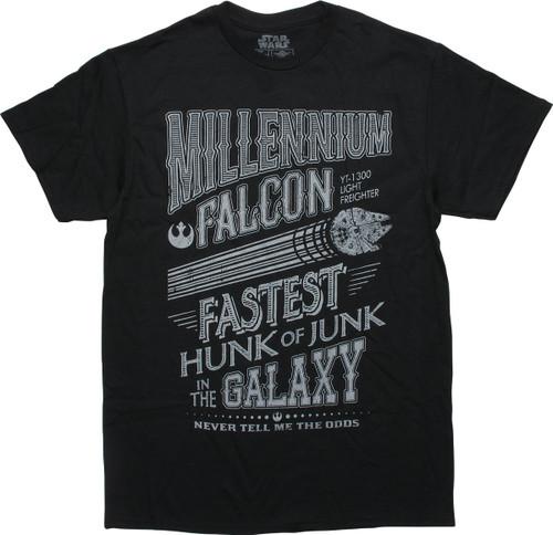 Star Wars Millennium Falcon Fastest Black T-Shirt