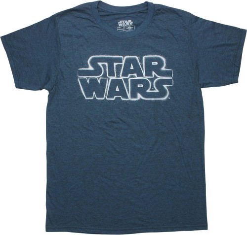 Star Wars Stenciled Logo Heathered Navy T-Shirt