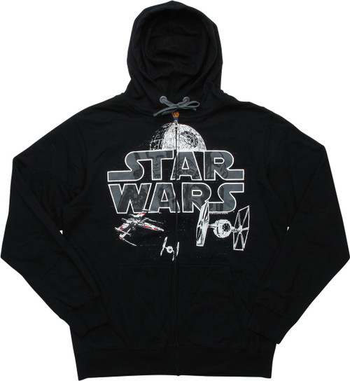 Star Wars Logo Space Battle Scene Zipper Hoodie