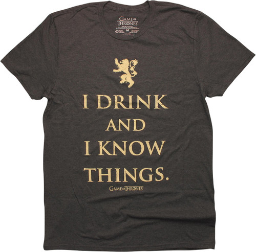 Game of Thrones I Know Things Charcoal T-Shirt
