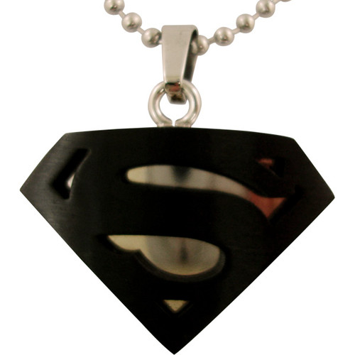 Superman Black Steel Logo Necklace Stainless Steel Superman