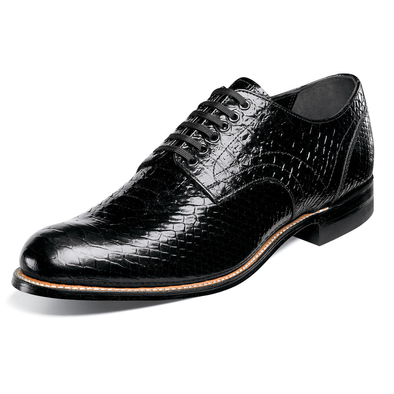 Stacy Adams Men's Madison Plain Toe Oxford - Black Anaconda