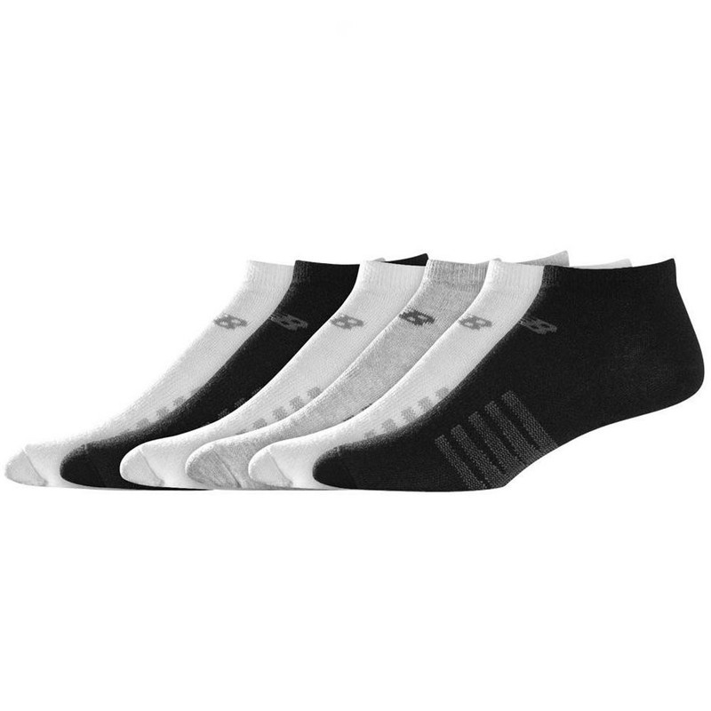 New Balance Lifestyle No Show 6 pack Socks - White / Light Grey / Black