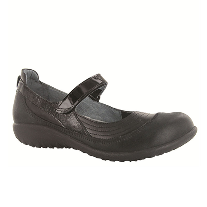 Naot Women's Kirei Wide - Black Madras Leather / Shiny Black / Black Patent