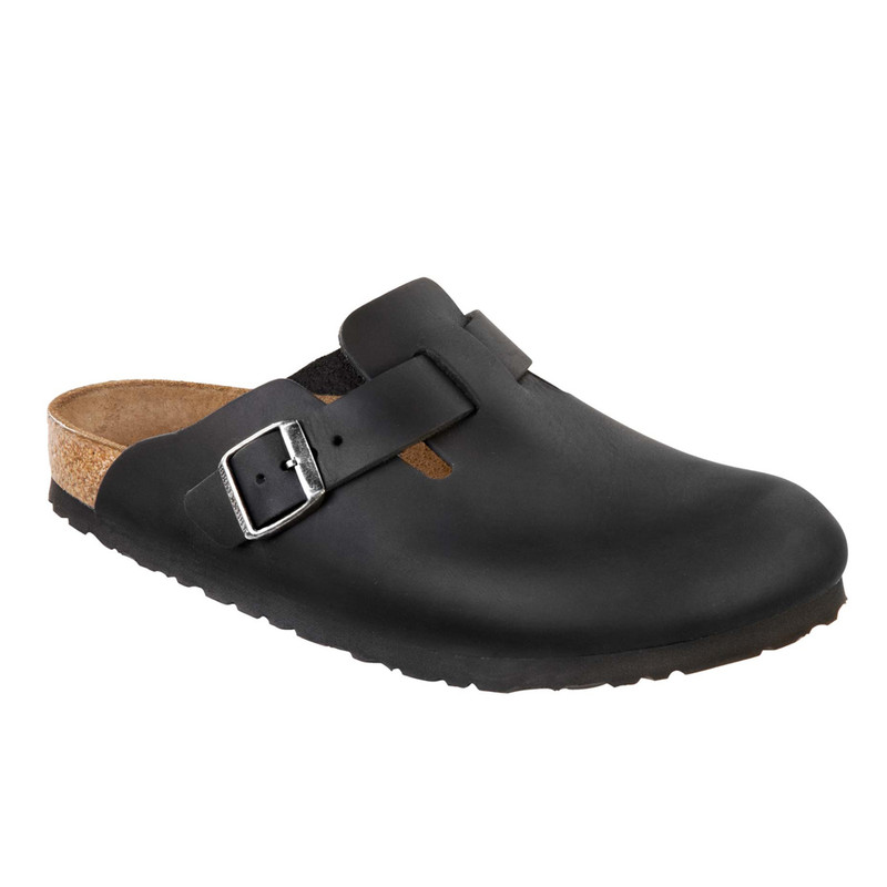 Birkenstock Boston - Black Oiled Leather (Regular Width)