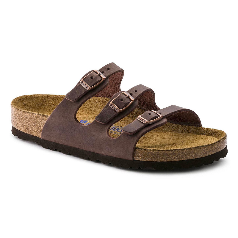 Birkenstock Women's Florida Soft Footbed - Habana Oiled Leather (Regular Width) - 53901 - Angle