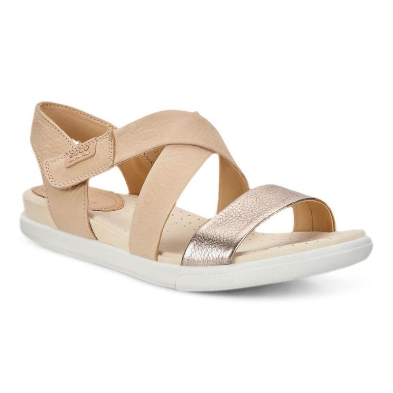 ECCO Women's Damara Criss Cross Sandal - Warm Grey / Powder - 248273-50666 - Angle