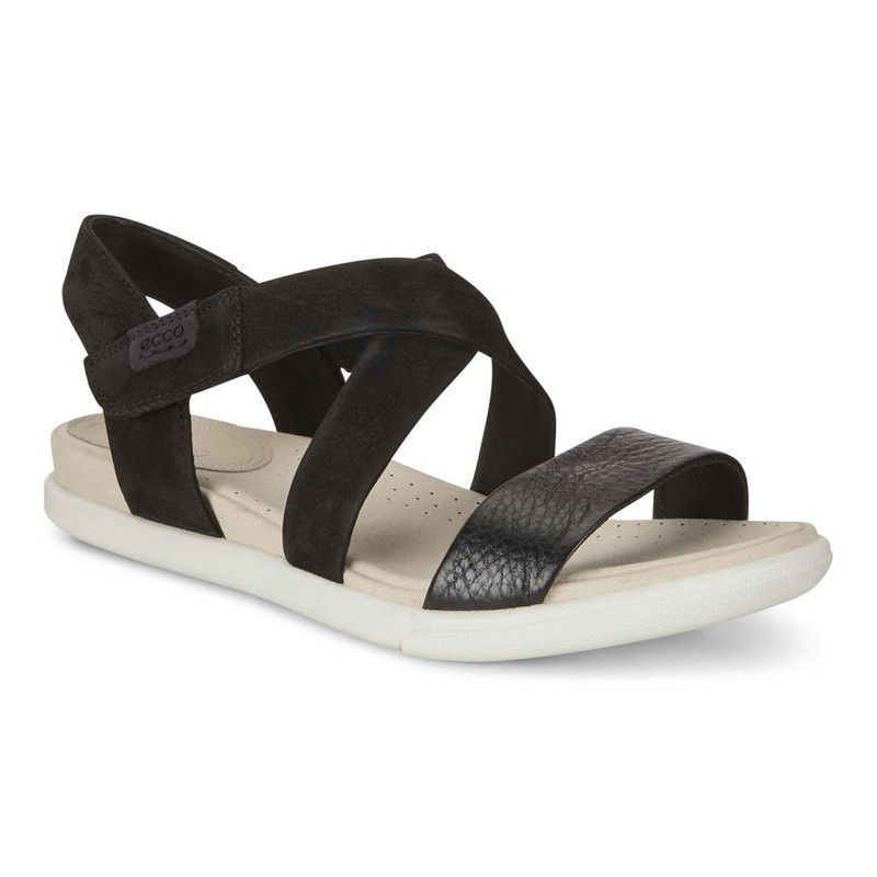 ECCO Women's Damara Criss Cross Sandal - Black/Black - 248273-51052 - Angle