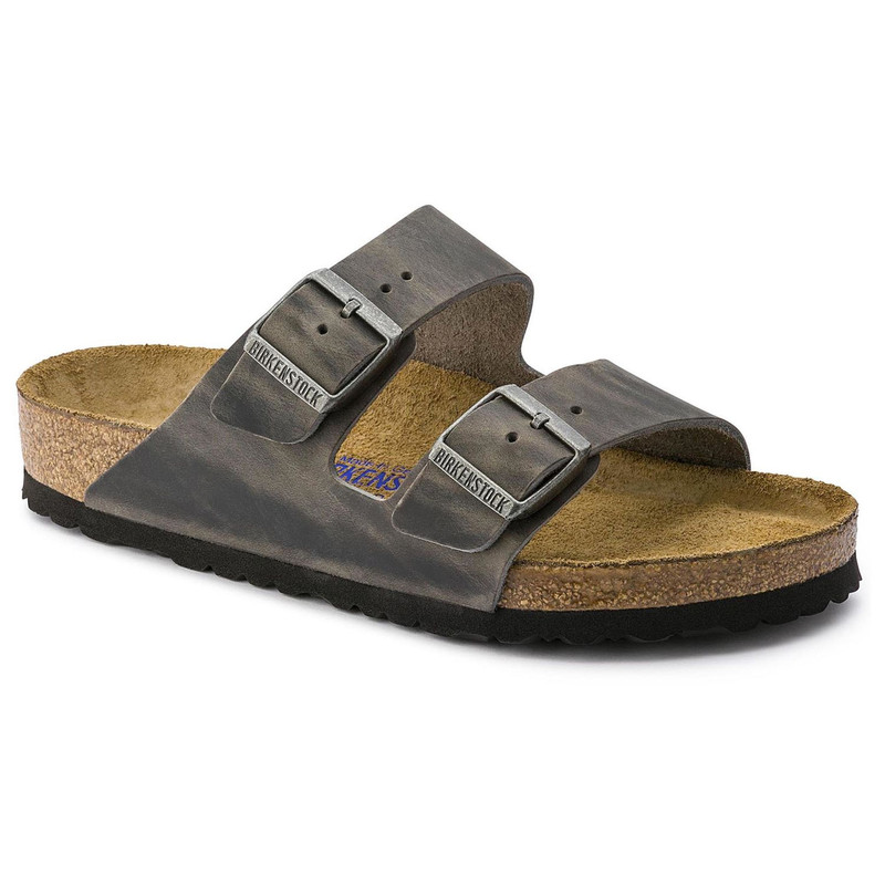 Birkenstock Arizona Soft Footbed - Iron Oiled Leather (Regular Width) - 552801 - Angle