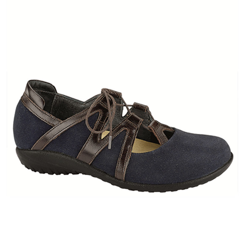 Naot Women's Timu - Blue Suede / Walnut Leather