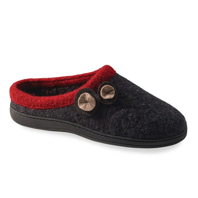 Acorn Women's Acorn Dara Slippers - Charcoal Button