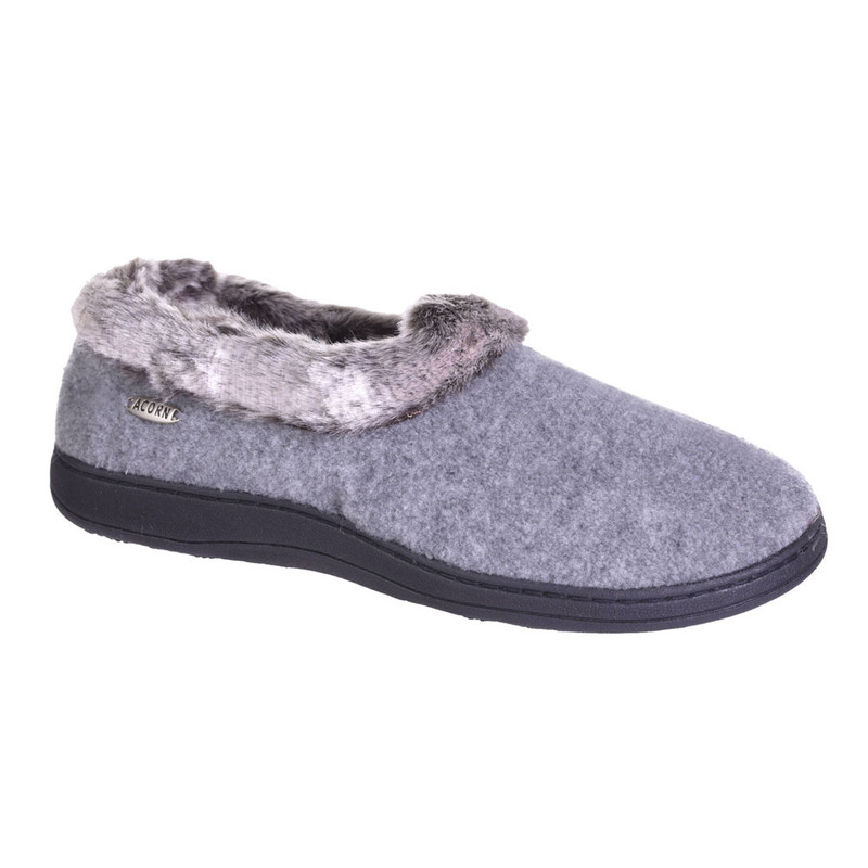 Acorn Women's Chinchilla Collar Slipper - Stone