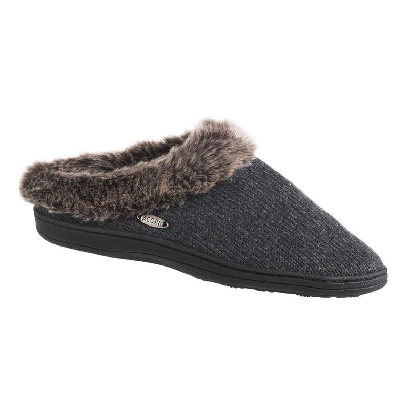Acorn Women's Chincilla Ragg Clog Slippers - Dark Charcoal Heathered