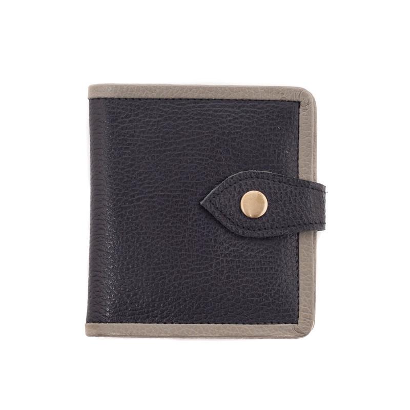 Sora Nomad Leather Mini Wallet - Black / Grey