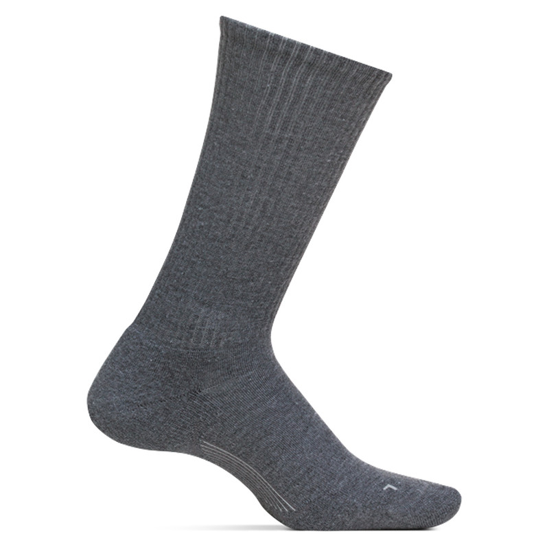 Feetures Men's Everyday Casual Rib Cushion Crew Socks - Grey