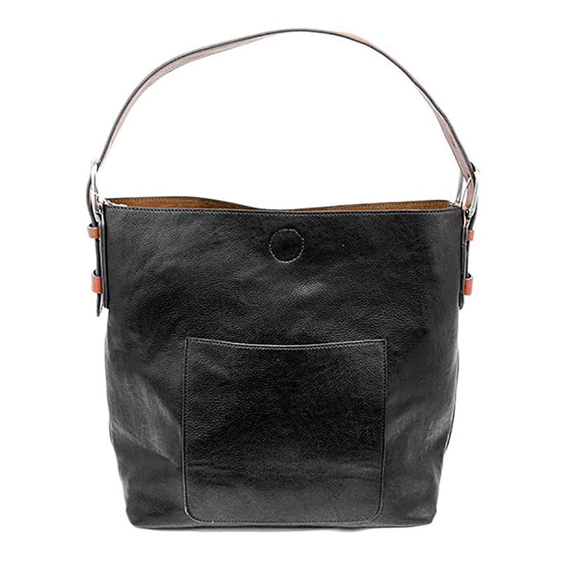 Joy Susan Classic Hobo Handbag - Black / Brown Handle