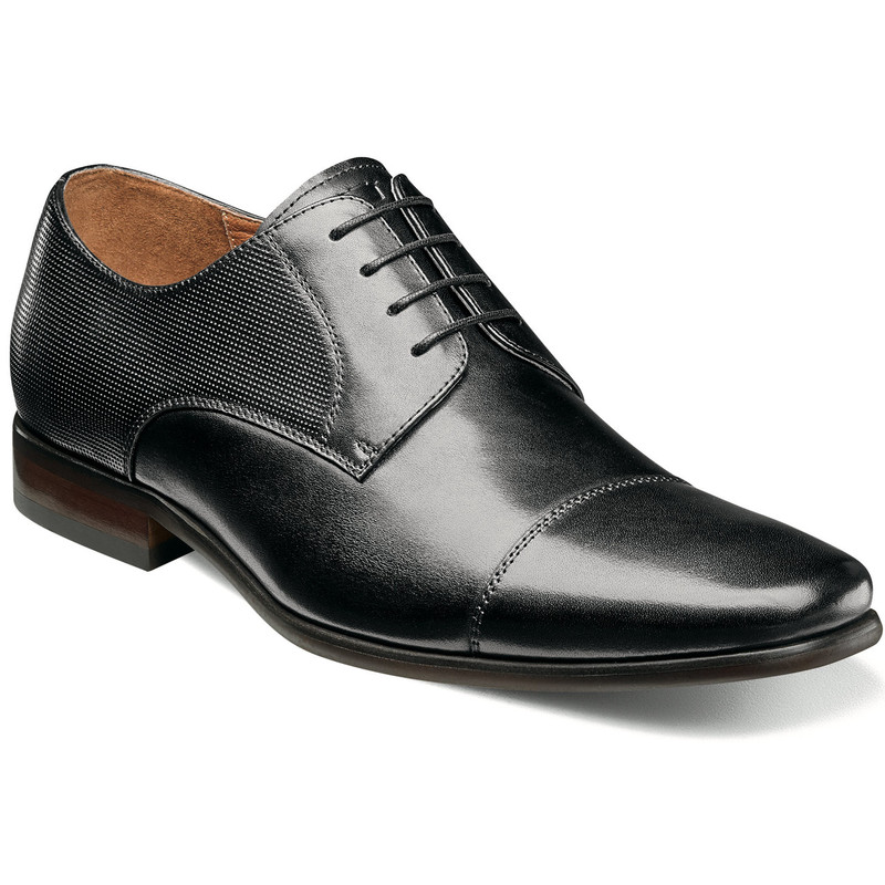 Florsheim Men's Postino Cap Toe Oxford - Black Smooth with Perf