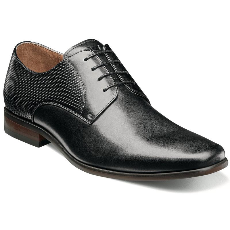 Florsheim Men's Postino Plain Toe Oxford - Black Smooth with Perf