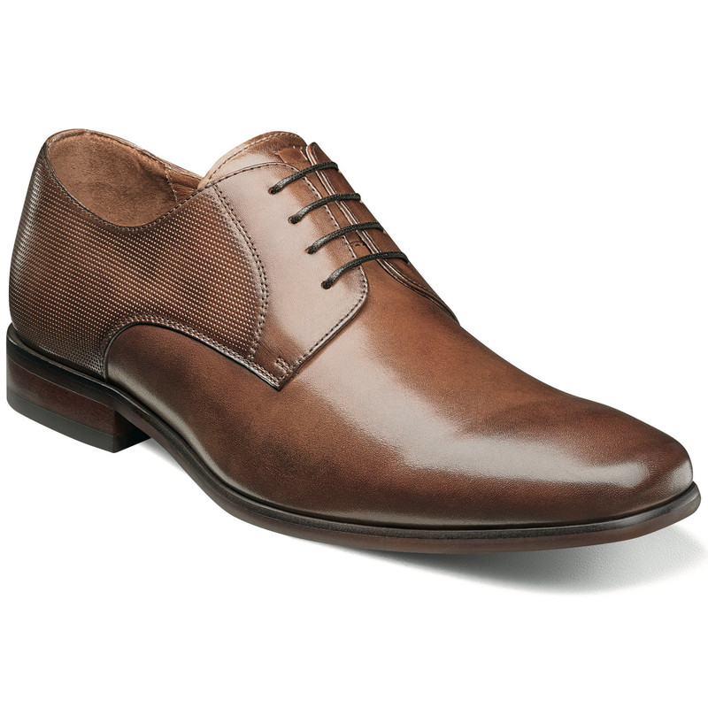 Florsheim Men's Postino Plain Toe Oxford - Cognac Smooth with Perf