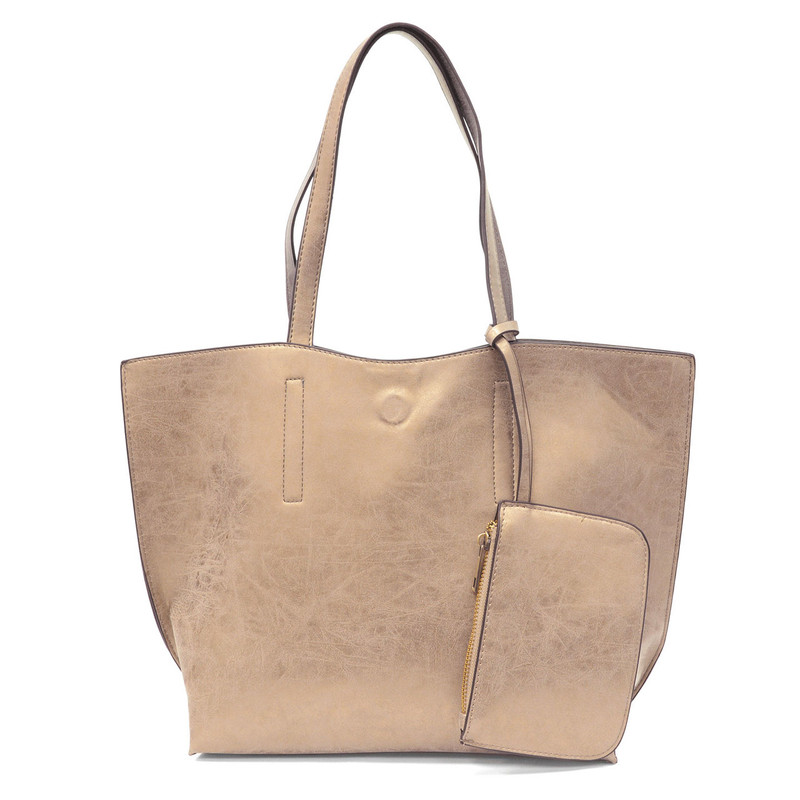 Carly Brushed Reversible Tote - Metallic Light Gold / Silver