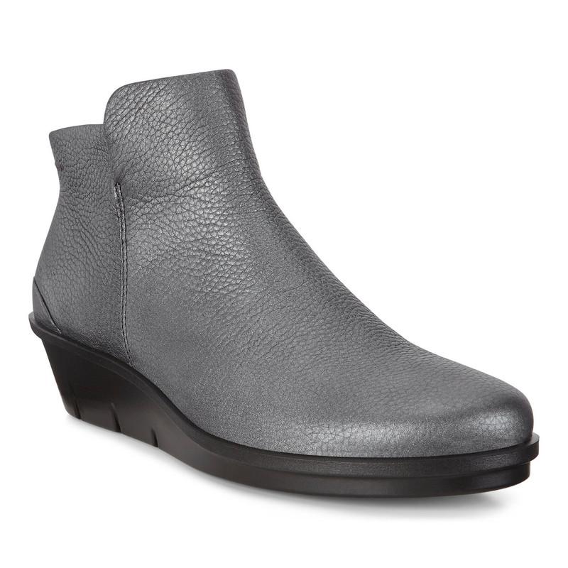 ECCO Women's Skyler Wedge Bootie - Black / Dark Silver  - 286013-51162 - Angle