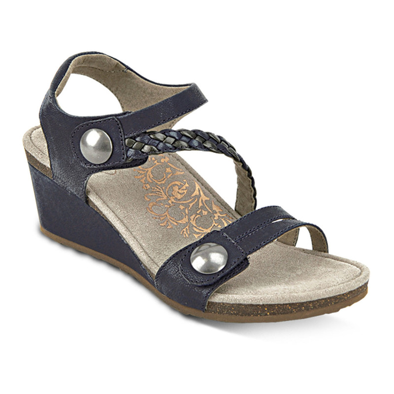 Aetrex Women's Naya Braided Quarter Strap Wedge Sandal - Navy